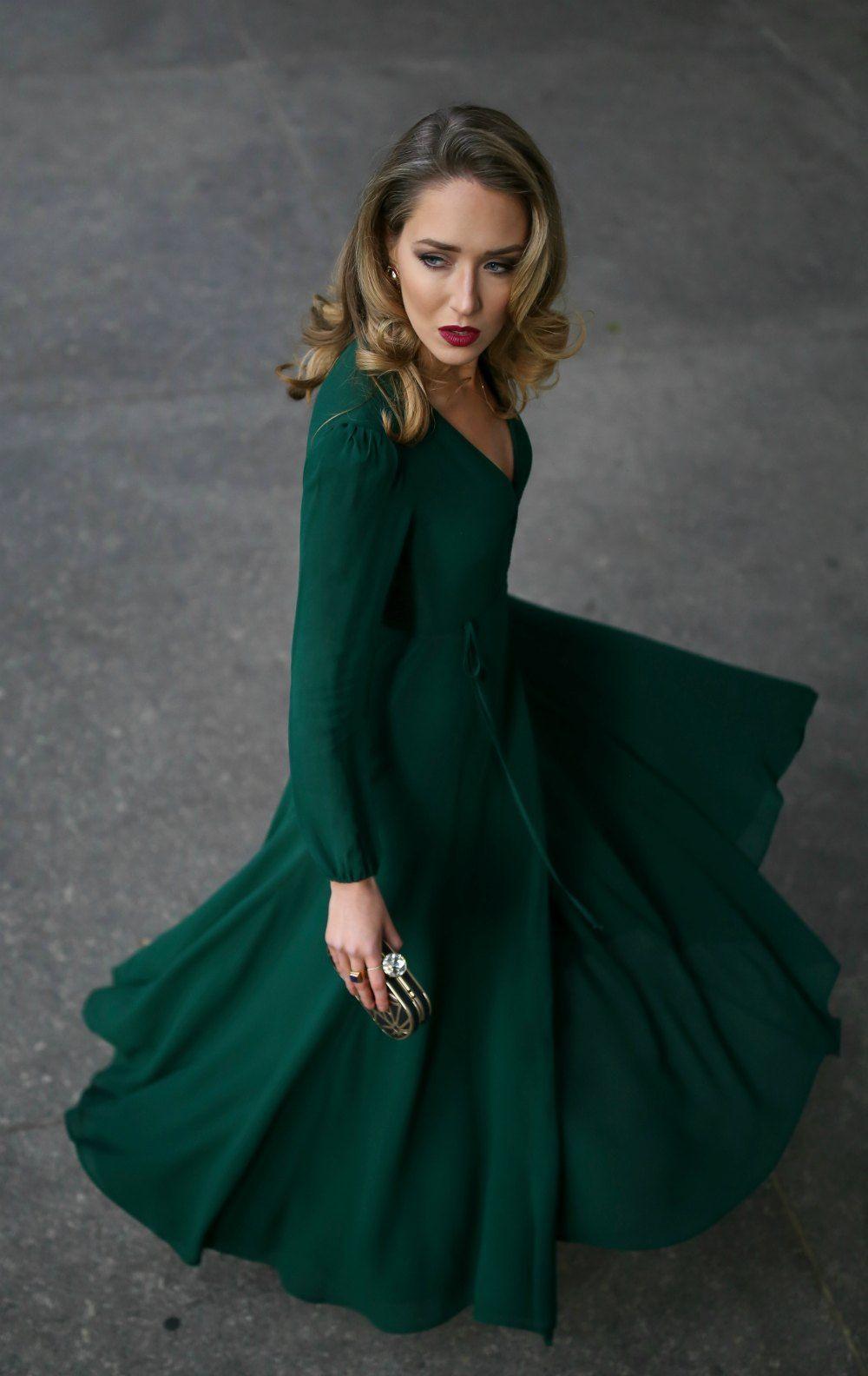 25db1158d6de Emerald green long-sleeve floor-length wrap dress