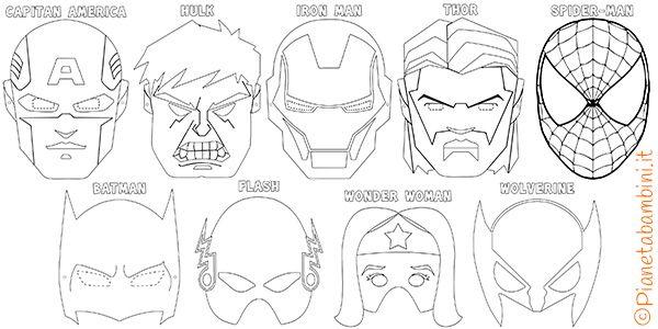 Maschere Di Supereroi Da Colorare Per Bambini Captain America