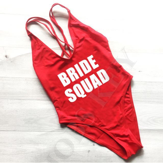 b1349b3b370f3 Sexy Red Cross Back One Piece Swimsuit Bride Squad Women Letter Bathing Suit  bachelorette bodysuit Feature
