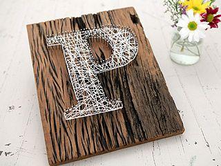 Letras con hilos tu y yo pinterest string art - Manualidades con hilo ...
