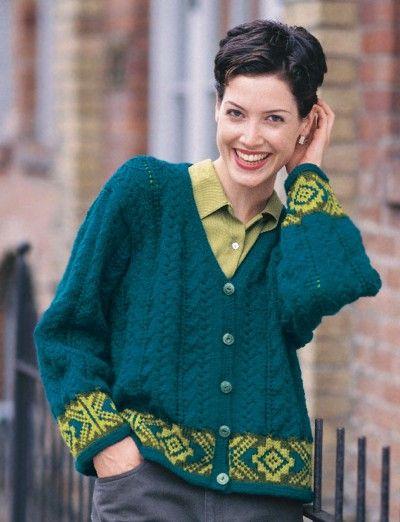 Free Fair Isle Border Cardigan Patterns Yarnspirations Knit