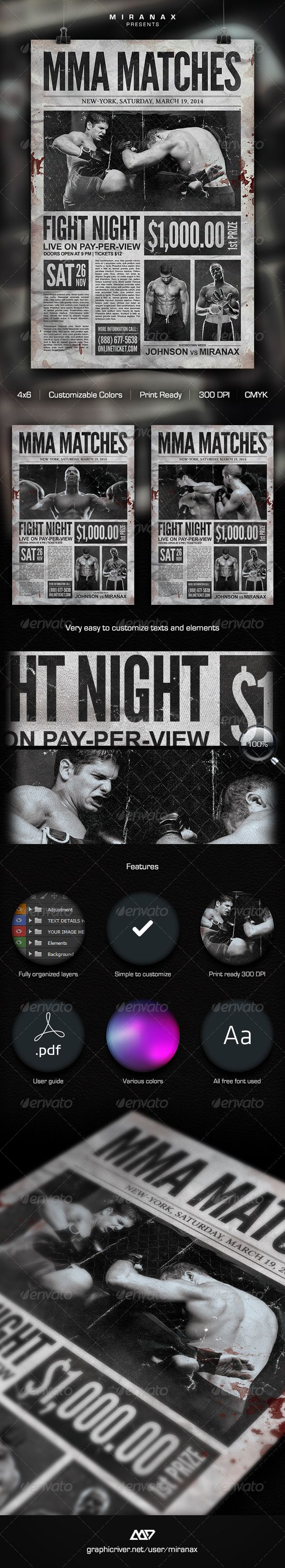 Mma  Boxing Showdown Old Newspaper Template  Mma Boxing Mma And