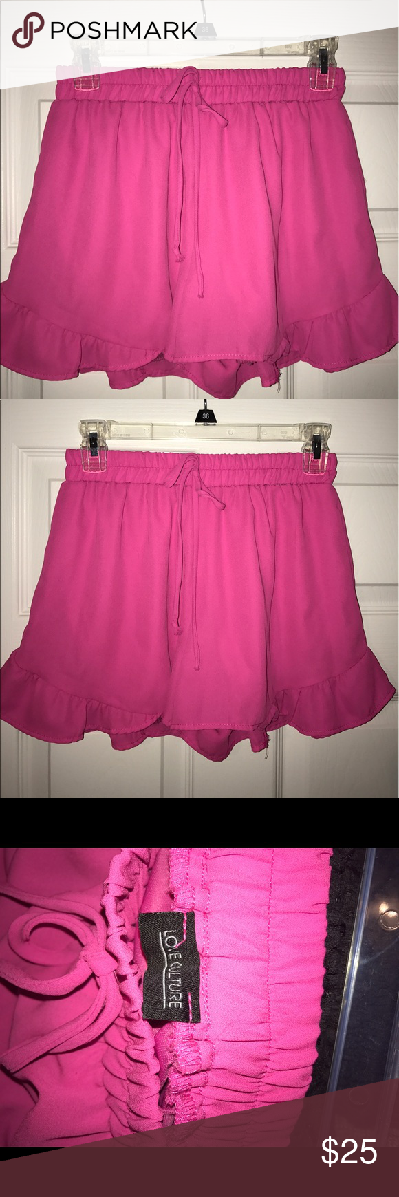 Hot pink shorts with ruffles size S HOT pink shorts with ruffle on ...