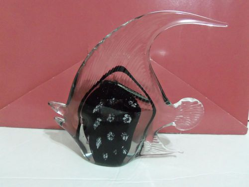 Murano Style HQT Home Design Glass Tropical Fish Handmade Black ...