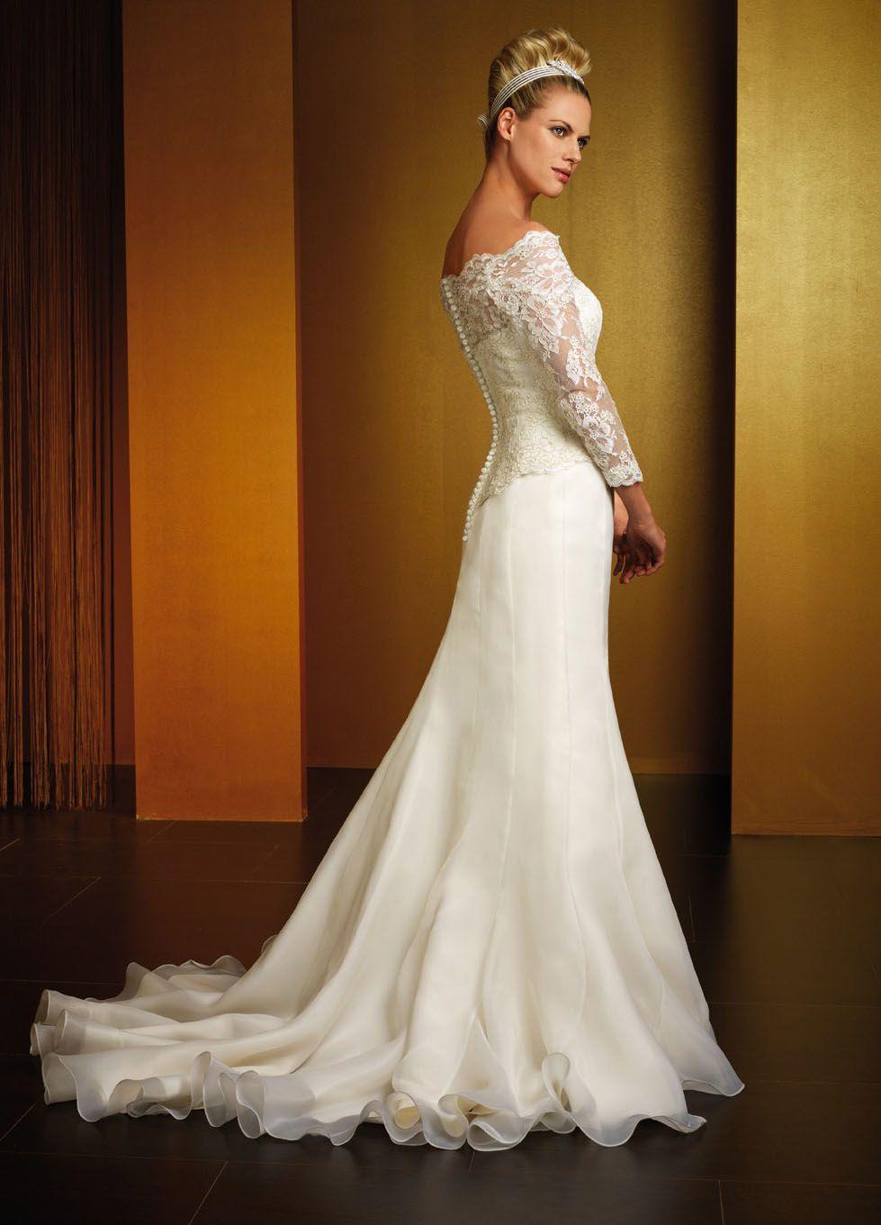Long Sleeve Lace Wedding Dress Patterns Poet Spaghetti Straps
