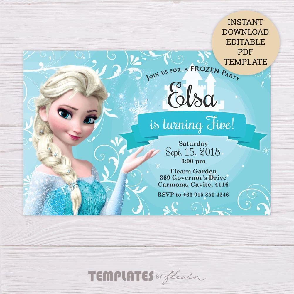 Frozen Elsa Invitation Template Dgtally Frozen Invitations Frozen Birthday Invitations Free Frozen Invitations
