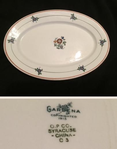 "O.P. CO. Syracuse China Platter.  9 1/2"".  Backstamp:  O.P. CO. Syracuse China Gardena  copyrighted 1915.  Date code C-3  (Mar 1922)."