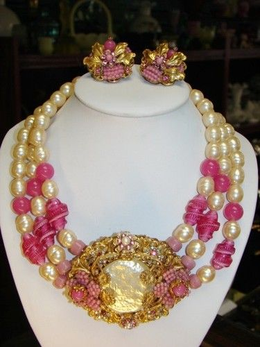 Stanley Hagler Triple Strand Necklace & Earrings