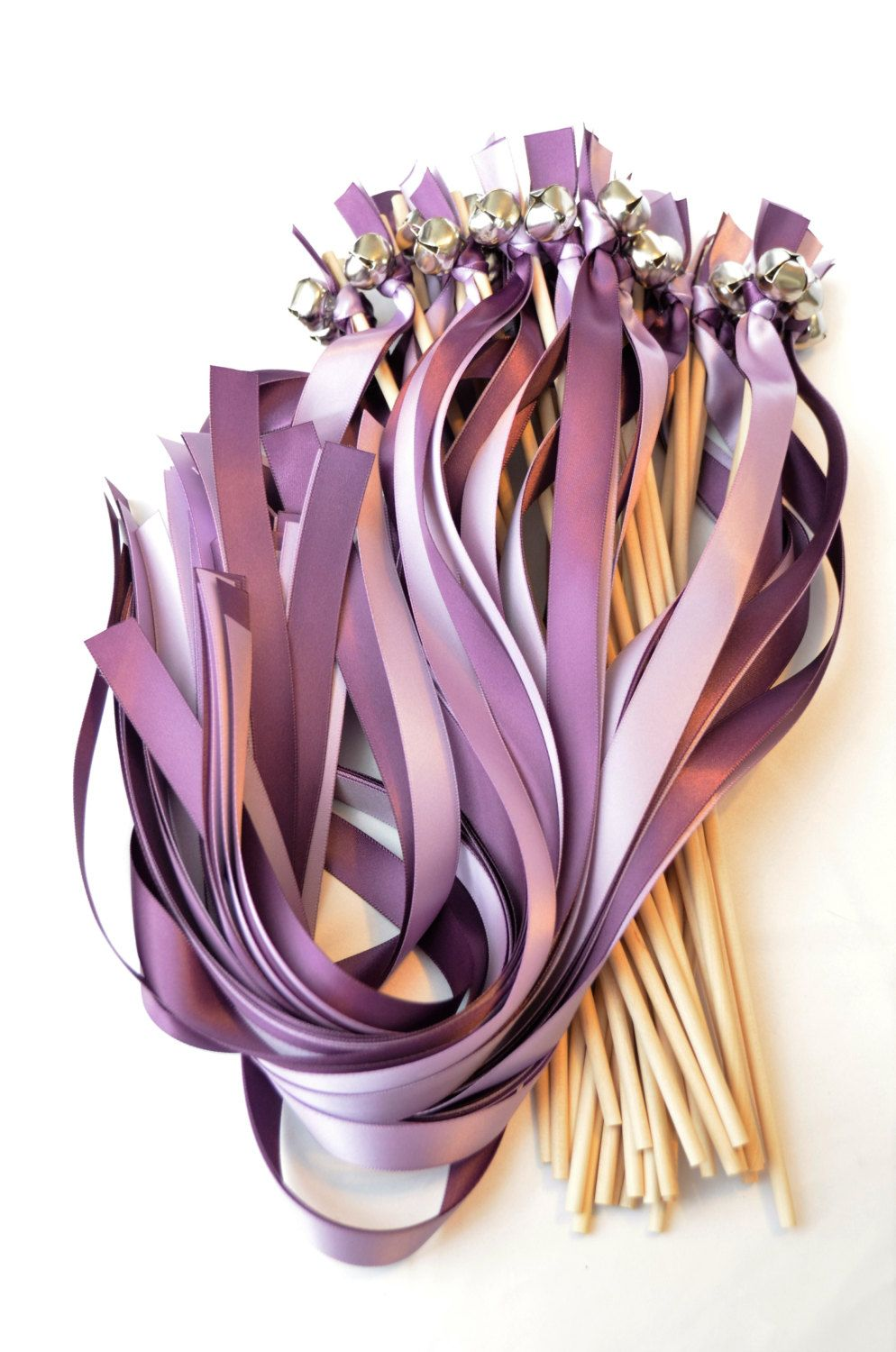 100 Ribbon Bell Wands ~ Divinity Braid ~ Send off Bells ~ Wedding Wands ~ Send Off Bells ~ Ribbon Wavers ~ Kissing Bells by DivinityBraid on Etsy