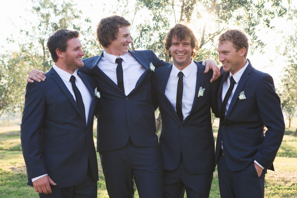Navy blue groomsmen suits with black skinny tie | This is actually ...