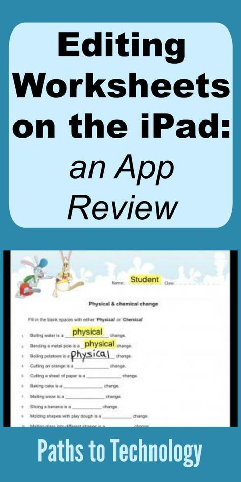 Editing Worksheets on the Ipad an App Review App