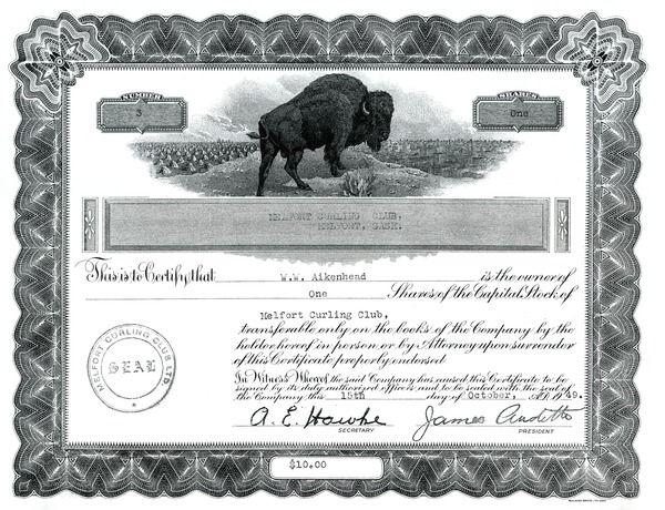 Copy of Melfort Curling Club Stock Certificate saskhistoryonline - copy certificate picture