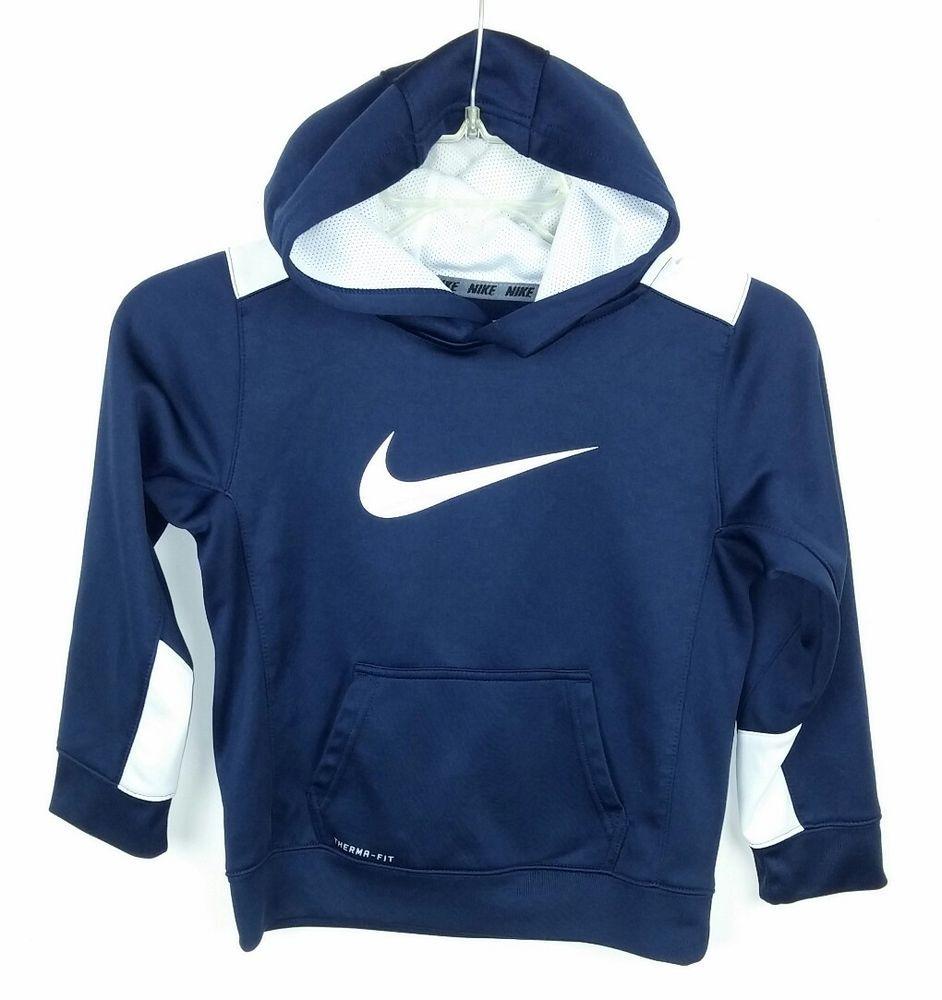 Nike Boys Size 7 Hoodie Sweatshirt Navy Blue White Swoosh Therma Fit Long Sleeve Nike Hoodie Everyday Sweatshirts Hoodie Hoodies Sweatshirts [ 1000 x 942 Pixel ]