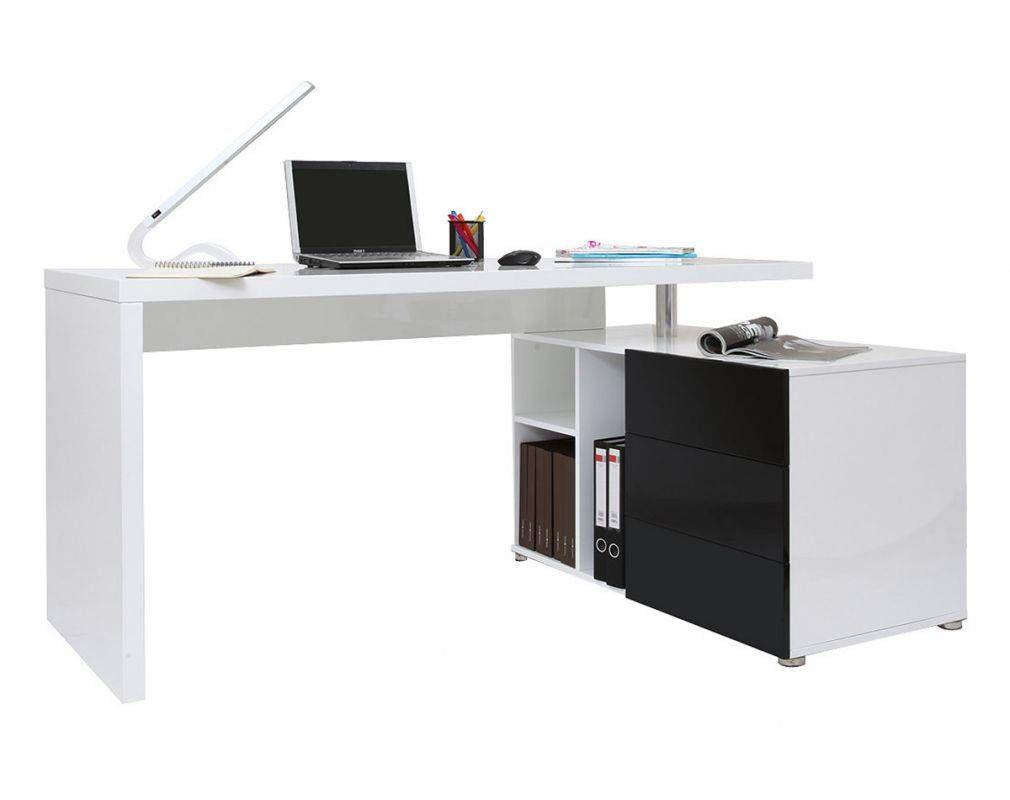 Bureau design blanc et noir laqué rangements droite maxi