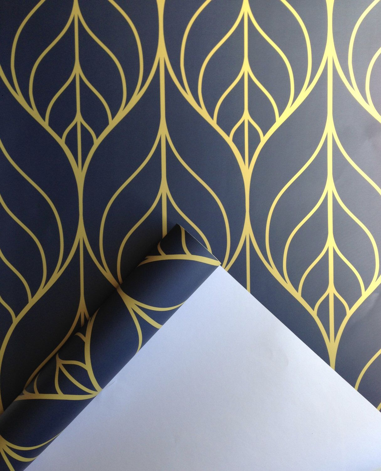 Removable Wallpaper Peel And Stick Wallpaper Leaf Wallpaper Etsy Navy Wallpaper Peel And Stick Wallpaper Leaf Wallpaper