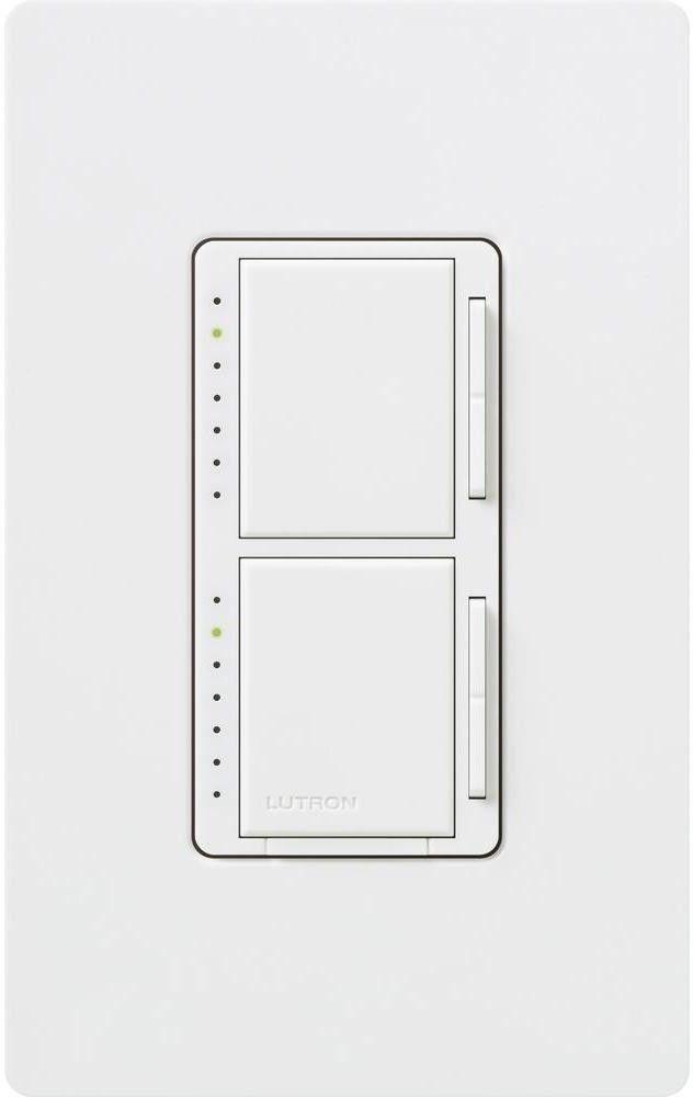 Lutron Maestro 300-Watt Single Pole Dual Dimmer with Wall