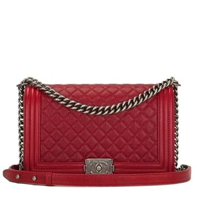 cd30c57d Chanel Dark Red Quilted Caviar New Medium Boy Bag | Madison Avenue ...