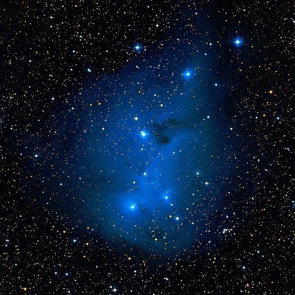 Nebulosas vdB 76, vdB 77 y vdB 78. Dentro de la nebulosa IC 2169 (en la imagen) hay algunos mechones brillantes que corresponden a pequeñas nebulosas de reflexión catalogado por separado. La estrella HD 31038 azul es la responsable de la iluminación de vdB 76, situado en el borde noroeste de IC 2169. vdB 77 es una pequeña nebulosa que se superpone a  vdB 78; ambas se encuentran en el borde sureste de IC 2169 y están iluminadas por la estrella azul HD 258853.