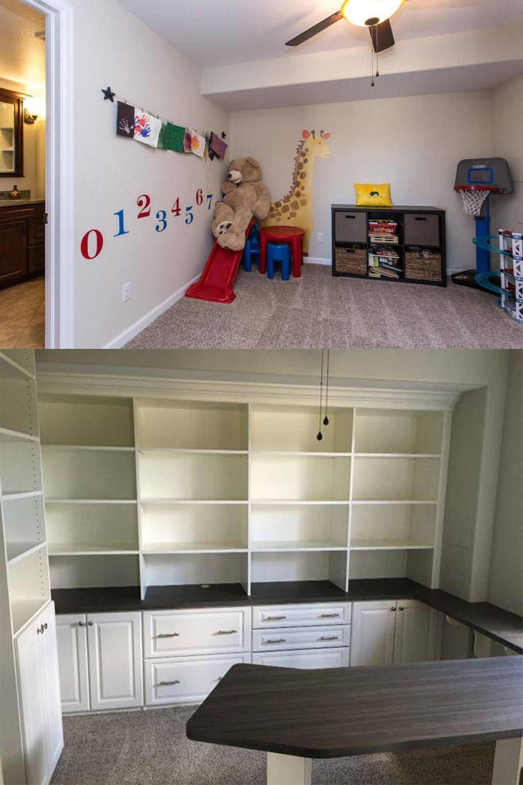 This Kidu0027s Room Was Transformed Into A Two Tone Melamine Home Office With  Multiple Shelving Units
