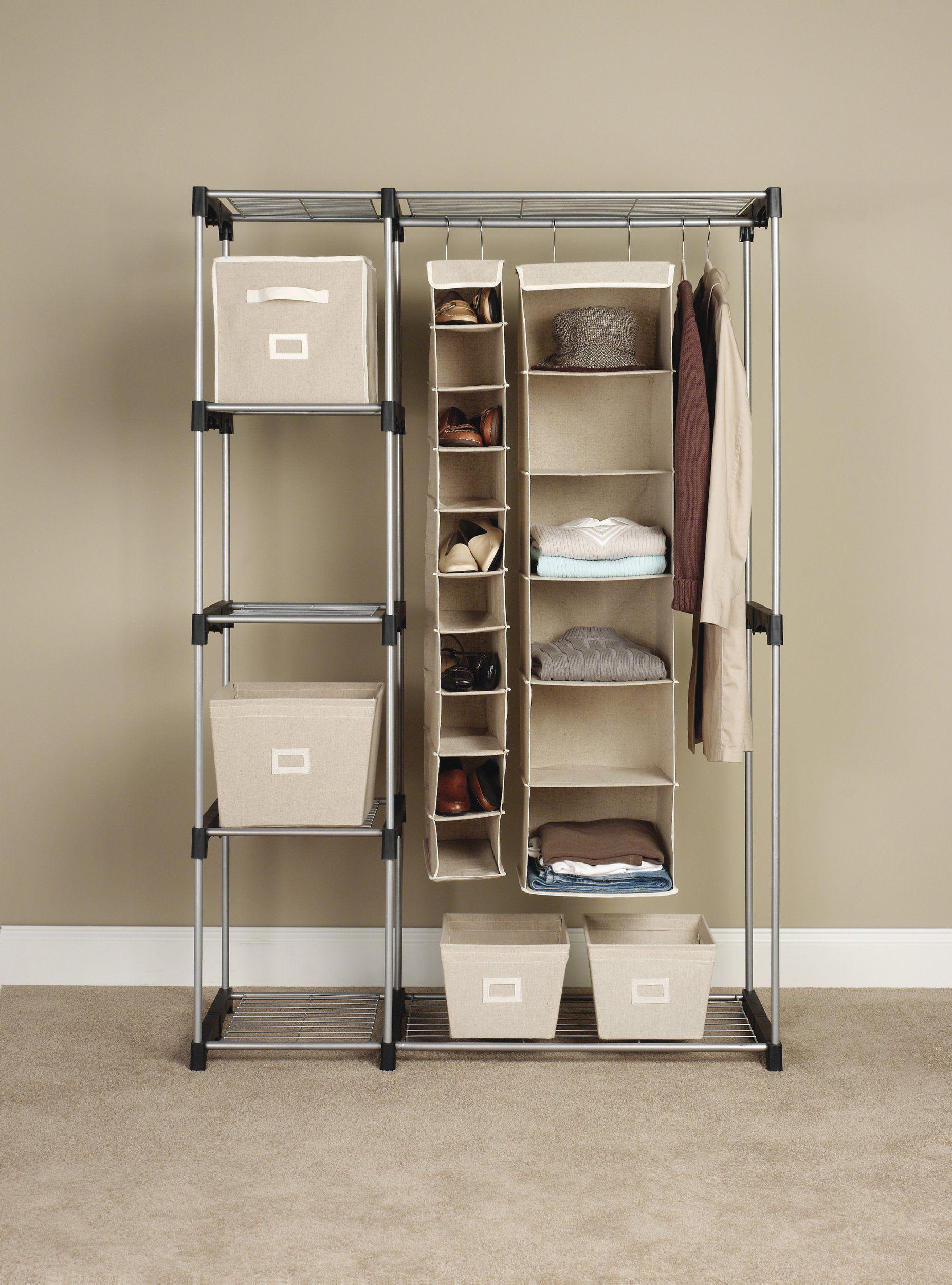 Amazon Com Whitmor 6779 3044 Double Rod Closet Silver Closet Storage And Organization Sys Storage Closet Organization Standing Closet Free Standing Closet