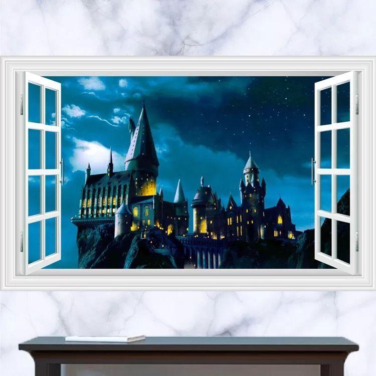 harry potter castle hogwarts wizard 3d effect window wall view
