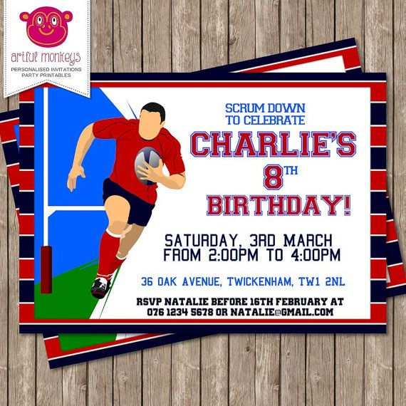 Personalised Rugby Party Invitation DIY Printable or Printed for – Printed Party Invitations