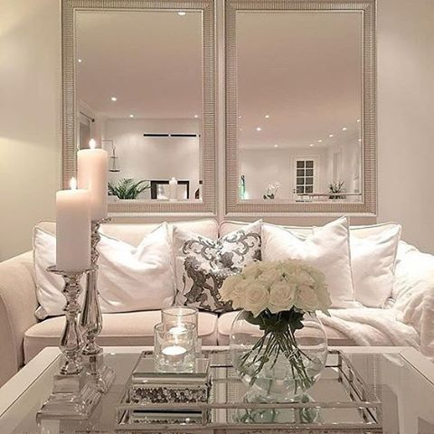 Mirror Decor In Living Room Great Colours Blessedprincesa Apartments Pinterest Love The Layout And White Flowers A Clear Glass Vase