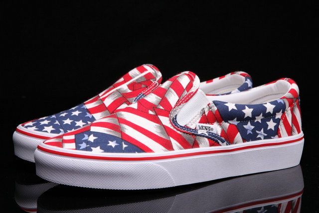fbbbacb3c00bea Classic Vans American Flag Slip-On Red Blue Loafers Off the Wall Skateboard   S5072304  -  39.99   Vans Shop