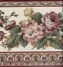 Victorian Rose Wallpaper Border VICTORIAN BURGUNDY ROSES