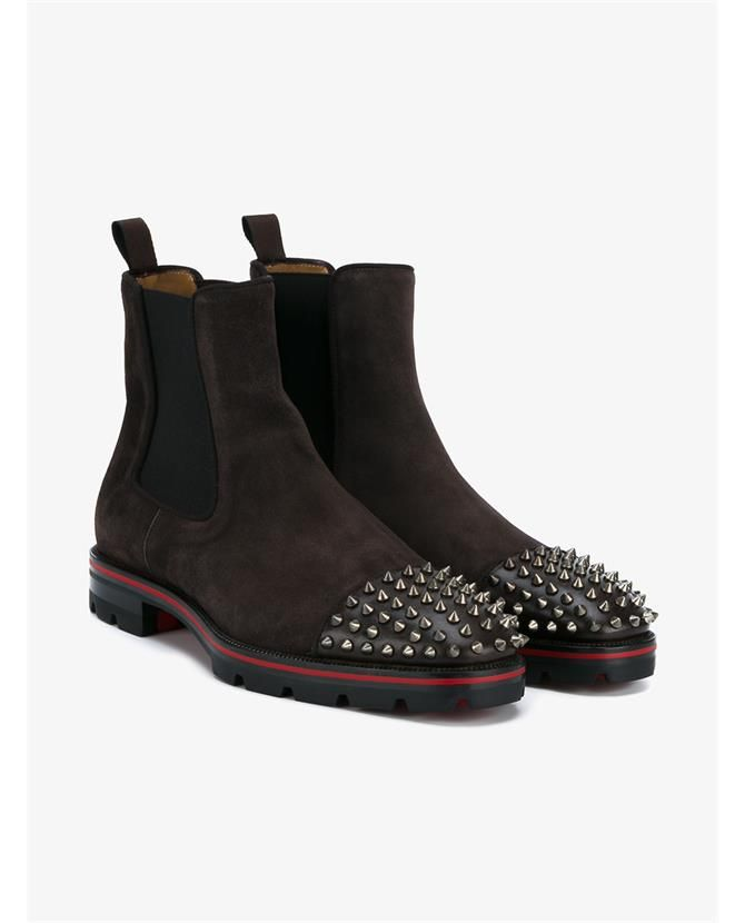 separation shoes 46206 b8490 CHRISTIAN LOUBOUTIN Melon Leather and Suede Spike Boots ...