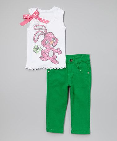This White & Green Rhinestone Bunny Tank & Pants - Toddler & Girls by Beary Basics is perfect! #zulilyfinds