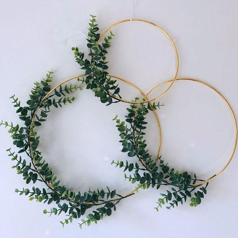 Pokupaj Umnee Zhivi Veselee Aliexpress Com Gold Wall Decor Floral Hoops Shabby Chic Green