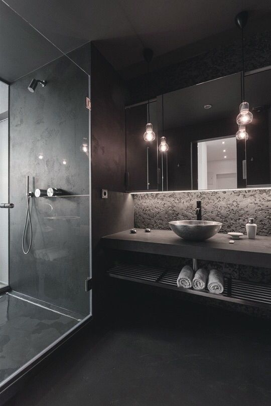 Master Ensuite dark tiles & Master Ensuite dark tiles | House Project