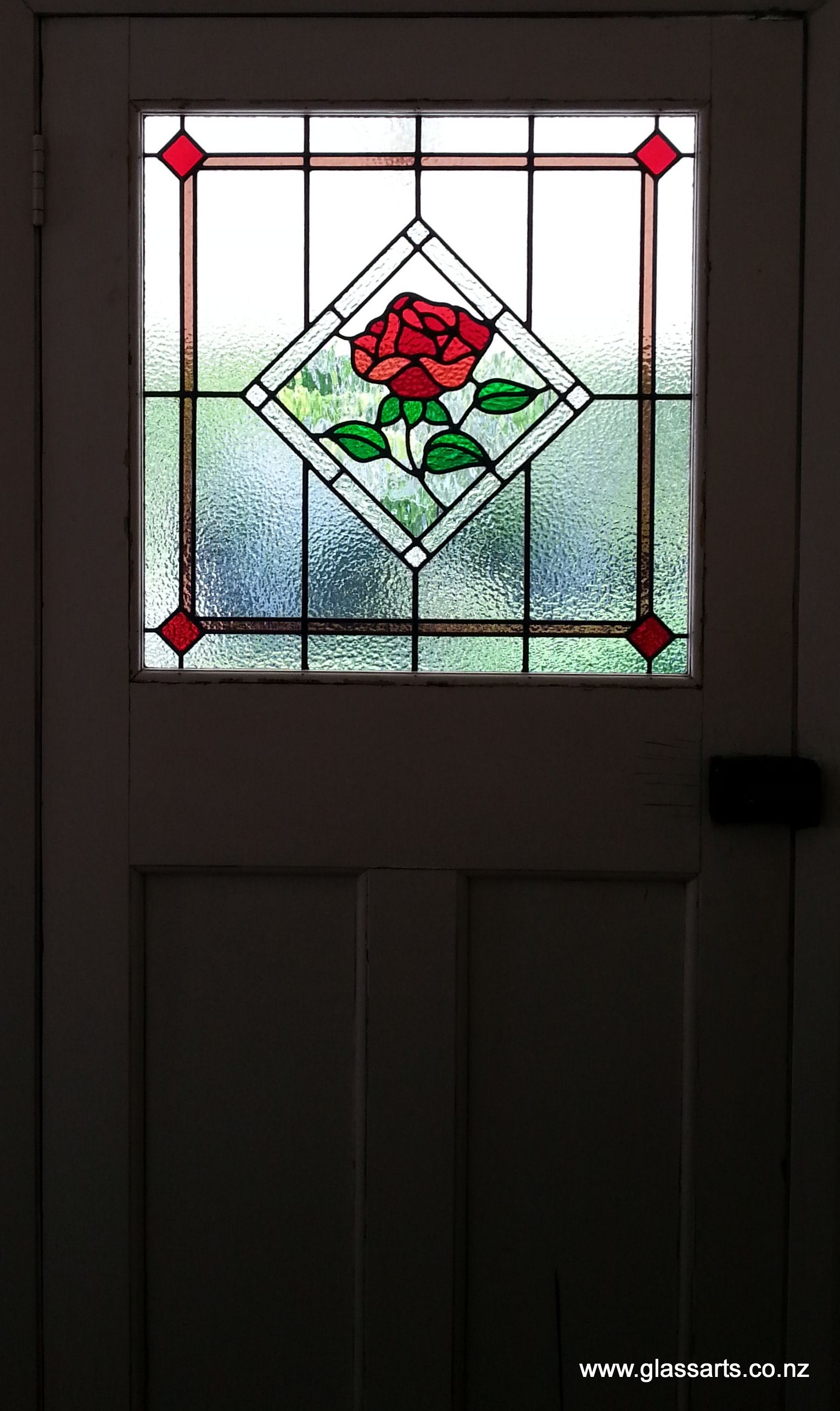 Traditional Lead light window with rose, in Bungalow door