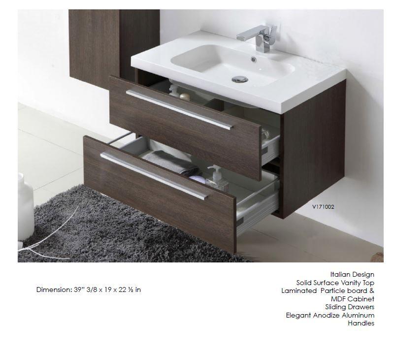 2 Drawer Wall Mounted Bathroom Vanity With Built In Sink