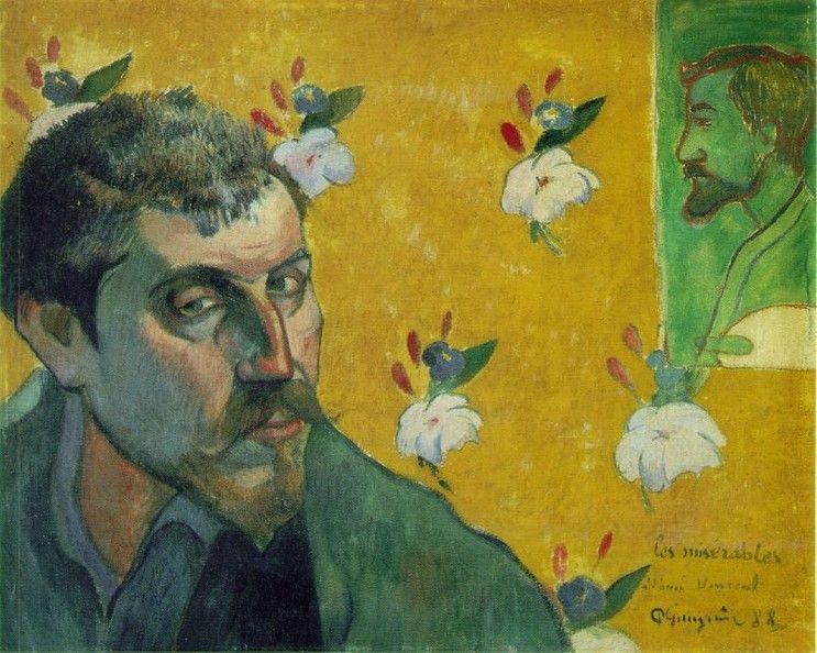 빈센트 반 고흐에게 헌정한 자화상 (1888) / 고갱 / 고흐와 공동생활에 들어가기 전에 그린 것으로, 고갱과 고흐는 서로에게 자화상을 그려 교환했다. 오른쪽 상단의 조그맣게 그려진 남자는 동료화가 '에밀 베르나르'이다.