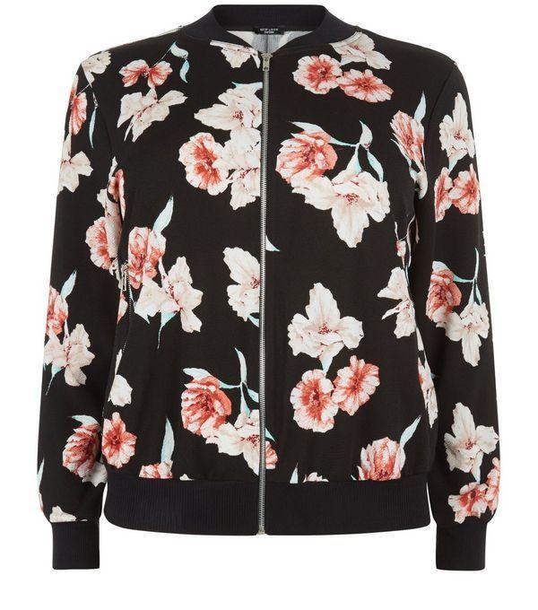fa747a39dba90 Plus Size Black Floral Print Bomber Jacket