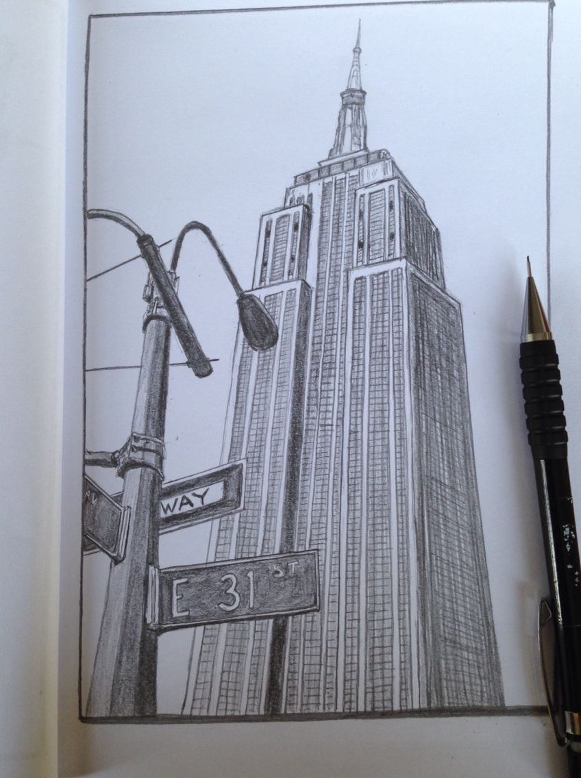Empire State Building New York Sketch Drawing Architecture Drawing Sketchbooks New York Painting Architecture Drawing