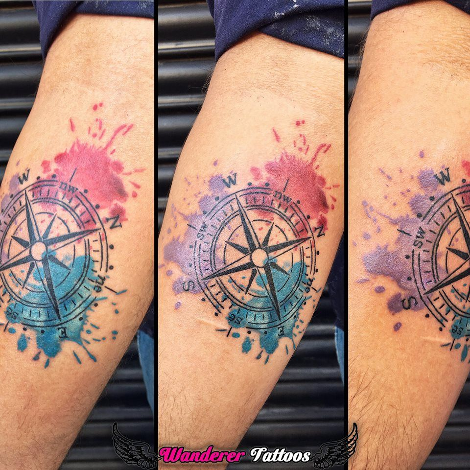 Watercolor Compass Tattoo Custom Designed Tattoo By Anmol