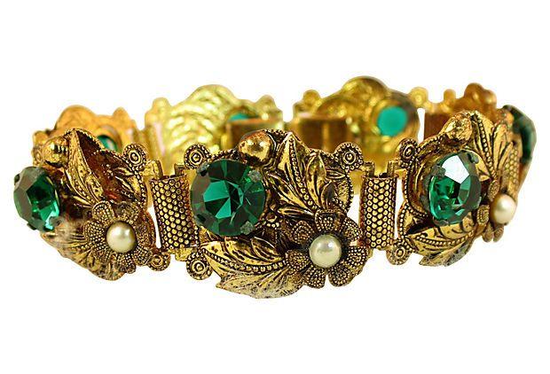 Czech Emerald Glass Bracelet on OneKingsLane.com
