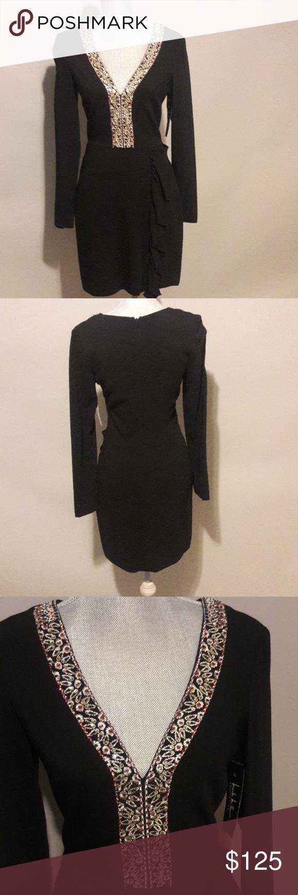 Nicole Miller New Black Dress W Gold Trim W Tags Clothes Design Nicole Miller Black Dress Fashion
