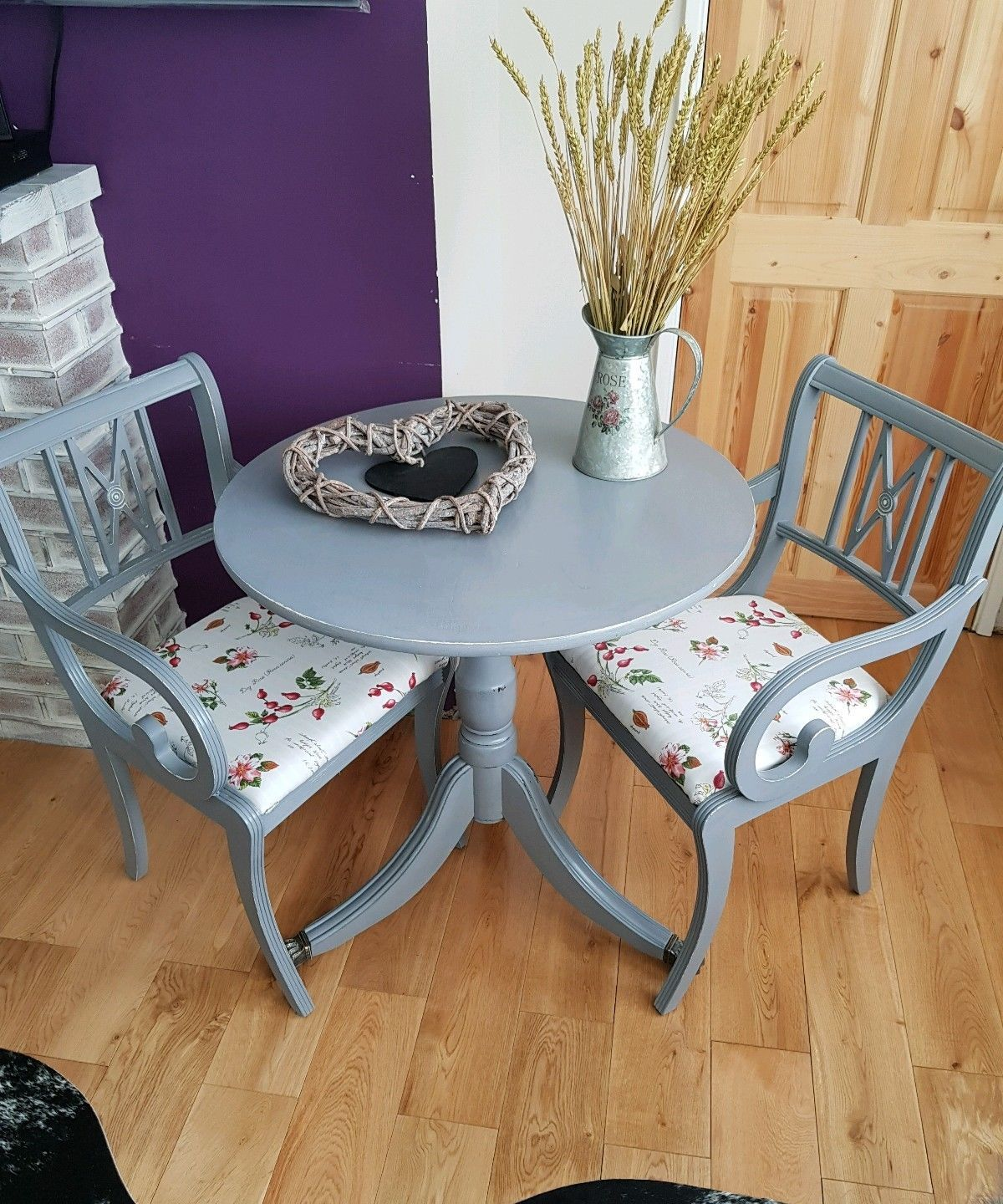 Shabby Chic Dinning Table With Two Chairs Ebay Upcycled