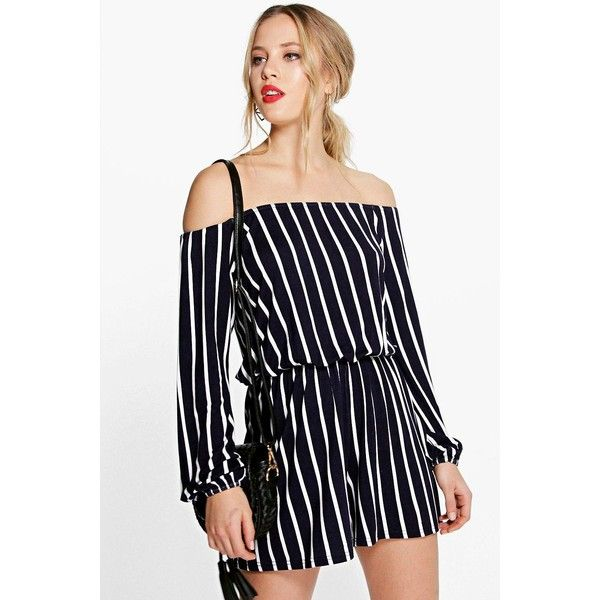 d4302958065 Boohoo Eden Stripe Off The Shoulder Playsuit ( 20) ❤ liked on Polyvore  featuring jumpsuits
