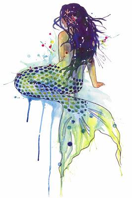 Watercolor Mermaid Aquarell Meerjungfrau Meerjungfrau Malerei