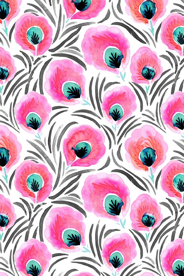 Feathered Pink Flowers By Crystal Walen Hand Painted And Turquoise On Fabric Wallpaper Gift Wrap Bold Bright With Black