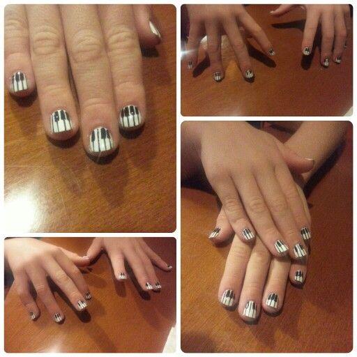 Piano Keys Nail Art Painted Freehand By Boutiqueful Nails Nail