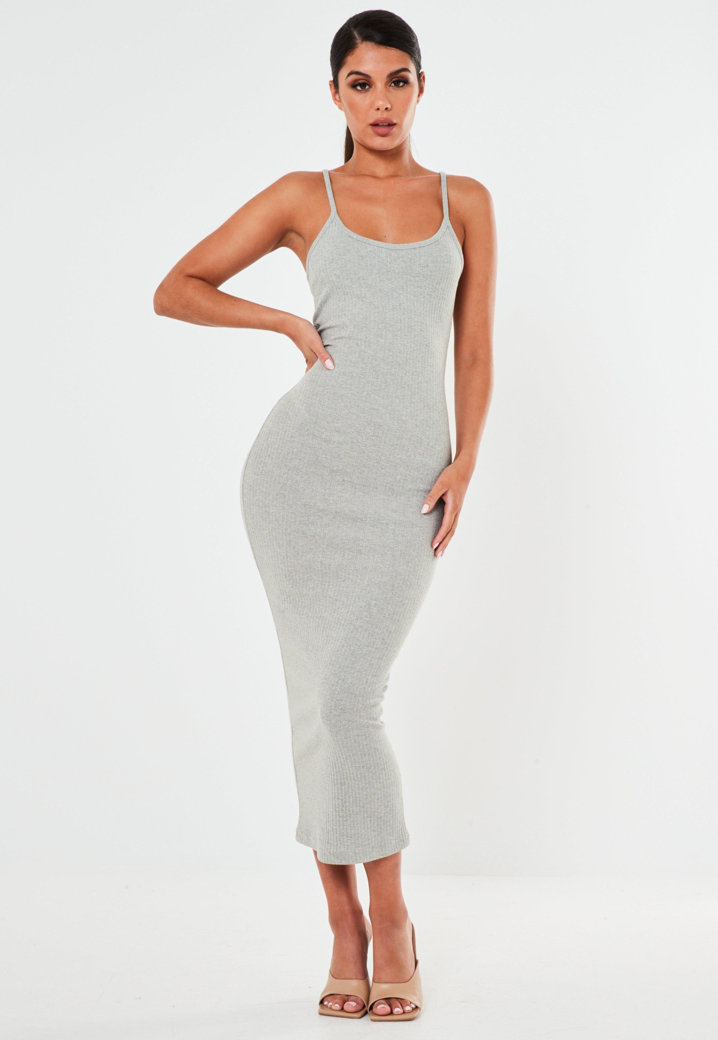 Grey Rib Strappy Midi Dress Sponsored Rib Spon Grey Strappy Grey Bodycon Dresses Grey Midi Dress Strappy Midi Dress [ 4200 x 2900 Pixel ]