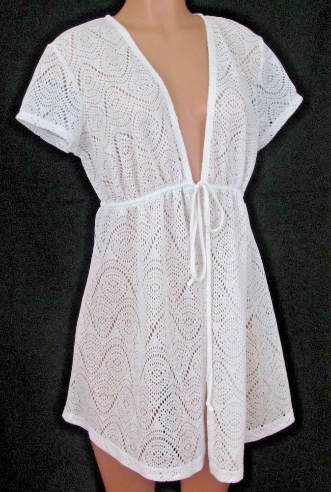 1ab259e4d13 Catalina Plus Size 1X 16W White Lace Crochet Swim Cover-Up Drawstring Tie  Waist #Catalina #CoverUp