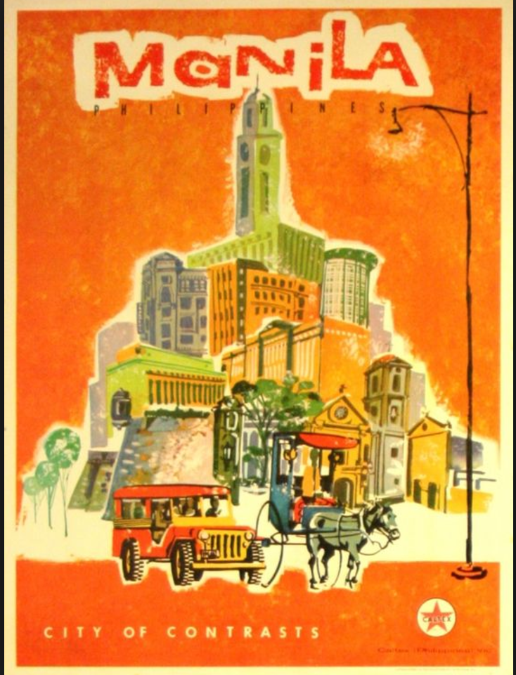 A Thriller Poster Of Manila A City Of Contrasts So It Should Be In Black And White Always Wante Travel Posters Art Deco Retro Travel Poster Travel Posters