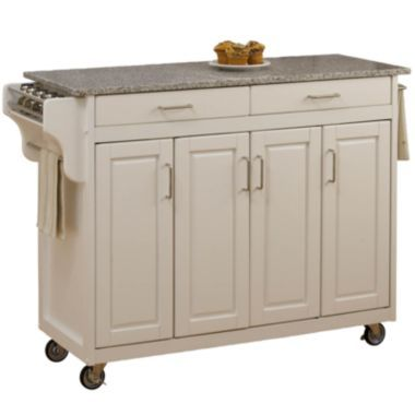 Create Your Own Large Rolling Kitchen Cart With Towel Rack White Island Granite Top